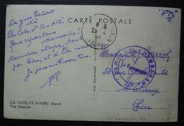 Camp De Chambaran 1941 Cachet Sur Carte De La Côte Saint André Pour Saint Etienne - Postmark Collection (Covers)