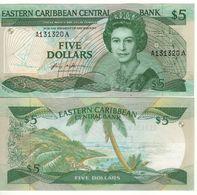 EAST CARIBBEAN  $ 5   P18a   (Antigua    -  1986-1988 )    UNC - Ostkaribik
