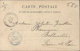 Algérie CP Biskra YT Fr Mouchon 124 CAD Bleu Perlé Bordj Sabath ConstantineFacteur Boitier Arrivée Bellevesvre 1903 - Marcophilie (Lettres)
