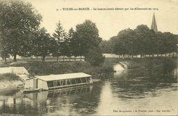 Tours-Sur-Marne Très Rare Le Bateau Lavoir Détruit En 1914 Voir Les 3 Cartes - Autres Communes