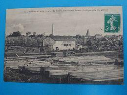 """18 ) Dun-sur-auron - N° 25 - La Sciérie """" LOUIS MEYER """" Le Chantier De Bateau - Le Canal Et Vue Générale : EDIT : Carré - Dun-sur-Auron"""