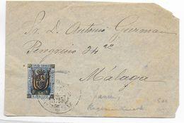 1893 - ESPAGNE / FRANQUICIA - TIMBRE MILITAIRE Du CORPS EXP De MELILLA (AFRIQUE) RARE Sur ENVELOPPE => MALAGA - Franquicia Militar