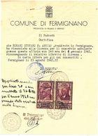 1942 FERMIGNANO DOCUEMENTO ARALDICO + MARCHE DA BOLLO REVENUE - Zonder Classificatie
