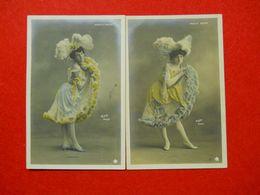 Cabaret Le Moulin Rouge 2 Cpa Danseuses Mariette Et Lulu éditeur Walery Paris Série 684 Th 53 Dos Scanné - Cabarets