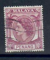 MALESIA PENANG 1954 - 10 C. VIOLETTO USATO - Penang