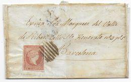 1856 - ESPAGNE - LETTRE => MARQUISE Del VALLE De RIBAS à BARCELONA - 1850-68 Kingdom: Isabella II
