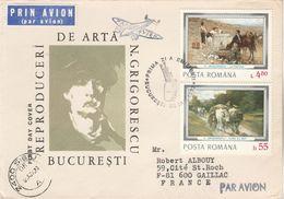Roumanie FDC 1977 Impressionniste N GRIGORESCU Circulée SIBIU Affranchissement Verso - Tableau Fleurs - FDC
