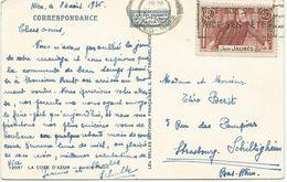 CARTE POSTALE 1936  AVEC TIMBRE A 40 CT JEAN JAURES - Marcophilie (Lettres)