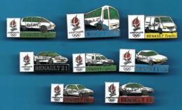 8 PIN'S // ** JO ALBERTVILLE '92 / PARTENAIRE RENAULT / CLIO / 19 / 21 / 25 / ESPACE / EXPRESS / TRAFIC / AUTOCAR FR1 ** - Pin's