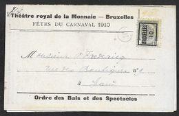 1910 BELGIQUE - PREOBL. 1C A GAND  - IMPRIMÉ ILLUSTRÉ PUBLICITÉ  - THEATRE ROYAL DE LA MONNAIE - FETES DU CARNAVAL 1910 - 1893-1907 Coat Of Arms