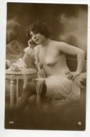NU French Charm 085 Jean  AGELOU GA Série 166 Elégante Jeune Femme Poitrine Nue Voiles Bas Noirs Perles EROTISME - Fine Nudes (adults < 1960)