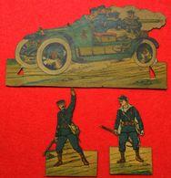 Ww1 Lots De 10 Soldats En Carton Pro-Patria Automitrailleuse & Fusiliers Marins Armée D'Afrique Dos Scanné Dans Leur Jus - Documents