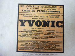 """1913  YVONIC (comédie),Le Breton Kerhostin De Douarnenez , Patron Du Bateau """"La Mouette""""; Pub  MICHELIN - Theatre"""