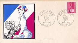 FRANCE PREMIER JOUR / FDC / MARIANNE / PARIS / 5 OCTOBRE 1974 / Y.T N° 1816 - 1970-1979