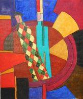 Tableau Cubiste Arlequin Au Cirque 55 Cm X 46 Cm Huile Sur Toile - Huiles
