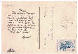 CARTE PUBLICITAIRE GUYANE FRANÇAISE LABORATOIRE PHARMACEUTIQUE IONYL CACHET CAYENNE AFFRANCHISSEMENT À VOIR 1949 - Guyane Française (1886-1949)