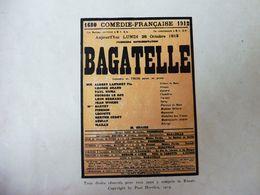 éd. Origine 1913 Comédie En 3 Actes BAGATELLE Par Paul Hervieu (portrait Couleur), Pub MICHELIN Théâtre Illustré Du Pneu - Theatre