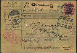 1914, Paketkarte Mit 80 Pfg. Germania Friedensdruck Ab WASSELNHEIM - Alsace-Lorraine