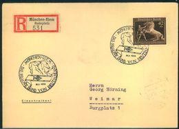 """1939, Einschreiben """"BRAUNES BAND"""" Ab München-Riem Rennplatz - Thema PFERDE - Fattoria"""
