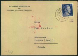 """1942, Auslandsbrief Der """"Generaldirektion Des Theaters Der Stadt STRASSBURG"""" - Alsace-Lorraine"""