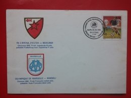 KOV 704-2 - Letter, BLANK, Crvena Zvezda - 0limpique De Marseille, 1991, Bari, Football, Ligue Des Champions - Cartas