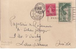 FRANCE : N° 354 . SAMOTHRACE ET COMPLEMENT SEMEUSE A 5 Cts . POUR LA SUISSE . CP . 1937 . - 1921-1960: Période Moderne