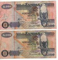 ZAMBIA   2 X 100 KWACHA    P38f & P38h    2006 & 2009 - Zambie