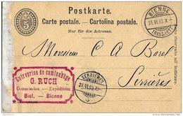4 - 53 - Entier Postal 5cts Avec Cachets à Date Bienne Et Serrières 1893 - Entiers Postaux