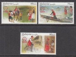 2016 Malaysia Postal Workers Horses Bicycles  Complete Set Of 3 MNH - Maleisië (1964-...)