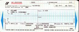Biglietto  Treno  UTILIZZATO   - Milano  / Como S. Giovanni -  Del  14 Sett. 2002. - Chemins De Fer
