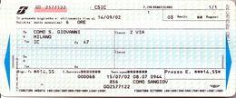 Biglietto  Treno  UTILIZZATO   -  Como S. Giovanni  / Milano -  Del  14 Sett. 2002. - Chemins De Fer
