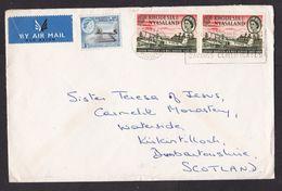 Rhodesia & Nyasaland: Airmail Cover To UK, 3 Stamps, Airplane, Aviation, Grave Rhodes, Queen Elizabeth (minor Damage) - Rhodesië & Nyasaland (1954-1963)