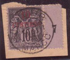 10c SAGE Surcharge 10 CENTIMOS Millésime 7 Sur Fragment Oblitération Cachet TANGER MAROC 1898 - Storia Postale