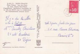 Marianne De Béquet 0,50 Annulé Arrivée Marque Postale  Central D'arrondissement VIII Dans Un Cercle / Carte Postale - Marcophilie (Lettres)