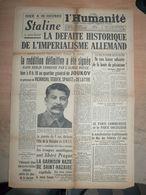 Journal Humanité 10 Mai 1945 Staline Jacques Duclos Cogniot Pétain Traite Thorez Parti Comuniste - Newspapers
