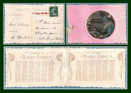 Calendrier 1909 CPA à Système Bonne Année Père Noël Voy 1er Janvier 1909 Jour De L'An TB - Calendriers