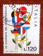 1978 ITALIA Fiori Con Bandiere - XX Giornata Francobollo  - 120 Lire Usato - 1971-80: Gebraucht
