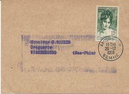 CARTE POSTALE COMMERCIALE 1950  AVEC TIMBRE A 12 FR MADAME RECAMIER - Marcophilie (Lettres)