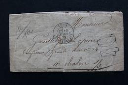 1872 LAC LYON CAD LES TERREAUX DU 10/04/1872 3EME POUR CHALON/SAÔNE CAD ARRIVEE DU 11/04 TAXE TAMPON 40 CENTIMES - 1849-1876: Période Classique