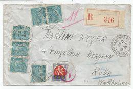 BLASON 5FR +MERCURE 50CX6 LETTRE REC CHAULNES 7.9.1943 POUR ALLEMAGNE AU TARIF - 1941-66 Armoiries Et Blasons