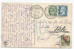 PASTEUR 75C +5C BLANC CARTE MULHOUSE 4.7.1926 POUR SUISSE + TAXE 10CECHALLENS + ANNULEE - 1922-26 Pasteur