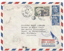 GANDON 15FR BLEU PAIRE +30FR RELIURE LETTRE AVION PARIS X 25.1.1955 POUR GUATEMALA AU TARIF - 1945-54 Maríanne De Gandon