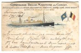 "SS ""Anversville"" - Compagnie Belge Maritime Du Congo Service Postal Anvers Southampton Tenerife  Grand Bassam Sent 1904 - Paquebots"