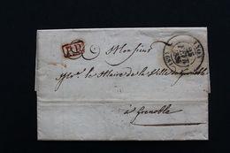 1835 LAC LYON CAD TYPE 13 DU 25/02/1835 POUR GRENOBLE CAD ARRIVEE DU 26/02/1835 MARQUE ROUGE DU PORT PAYE. - 1801-1848: Precursores XIX