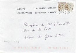 N° 253 Adhésif Y. Et T. Oblitération Toshiba TSC 1000 38909A (Migné Auxances Poitiers PIC) Flamme Muette Du 06/03/2009 - 1961-....
