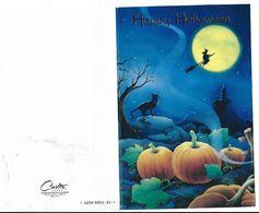 Happy  Halloween  Chair De Lune Sorcière Enfourchant Un Balai Chateau Hanté Chat Noir Et Citrouilles - Halloween