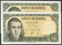 5 Pesetas. 16 De Agosto De 1951. Sin Serie. Uno De Los Billetes Leve Doblez Ver - Espagne