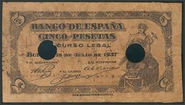 5 Pesetas. 18 De Julio De 1937. Falso De época. Serie C. (Edifil 2017: 424a). B - Espagne