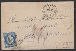 Paris: Pli Avec 25 C Céres Dentelé Oblt Etoile 34 + CàDate PARIS AVENUE JOSEPHINE. Pour St MALO - 1849-1876: Klassieke Periode