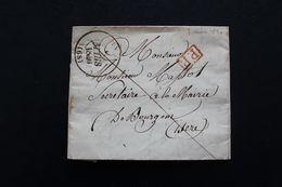 1840 LAC LYON CAD TYPE 13 DU 07/03/1840 POUR BOURGOIN CAD TYPE 12 ARRIVEE DU 08/03/1840 MARQUE ROUGE DU PORT PAYE - 1801-1848: Precursores XIX